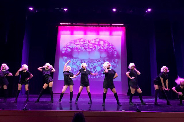 Street Jazz girls performance on stage with blond wigs
